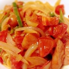 トマトとソーセージのパスタ130801.jpg